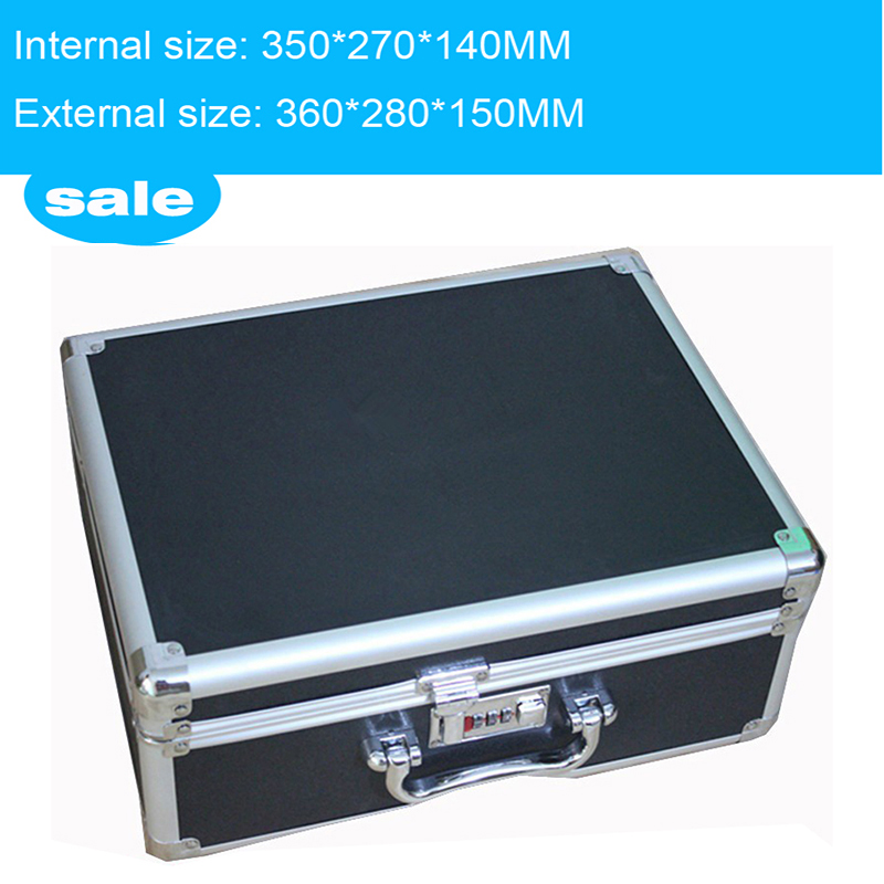 Toolbox Aluminium Tool Case Magic Props File Storage Hard Carry Carrying Box Tool For Hand Gun Locking Pistol 35*27*14 CM