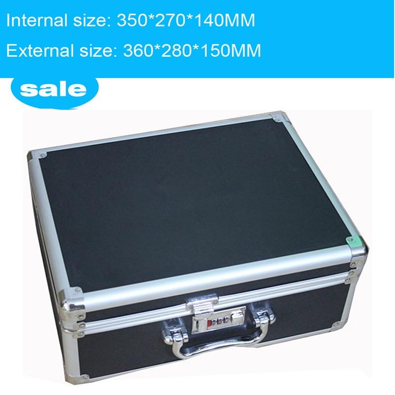 cassetta degli attrezzi valigetta in alluminio oggetti di scena magici archiviazione file portadocumenti di trasporto portautensili per pistola a mano pistola di bloccaggio 35 * 27 * 14 cm