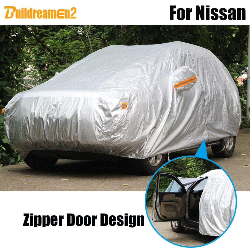 Buildreamen2 Imperméable bâche de voiture Extérieur Soleil Neige Pluie Couverture Résistante Pour Nissan Tiida Primera Sentra Altima Médaillé Fuga