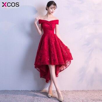 b843f7ccd0e26 Vestidos de graduacion 2018 Ucuz Kırmızı Mezuniyet Elbiseleri Yüksek düşük  Kısa Kokteyl Parti Abiye kapalı omuz dantel balo kıyafetleri