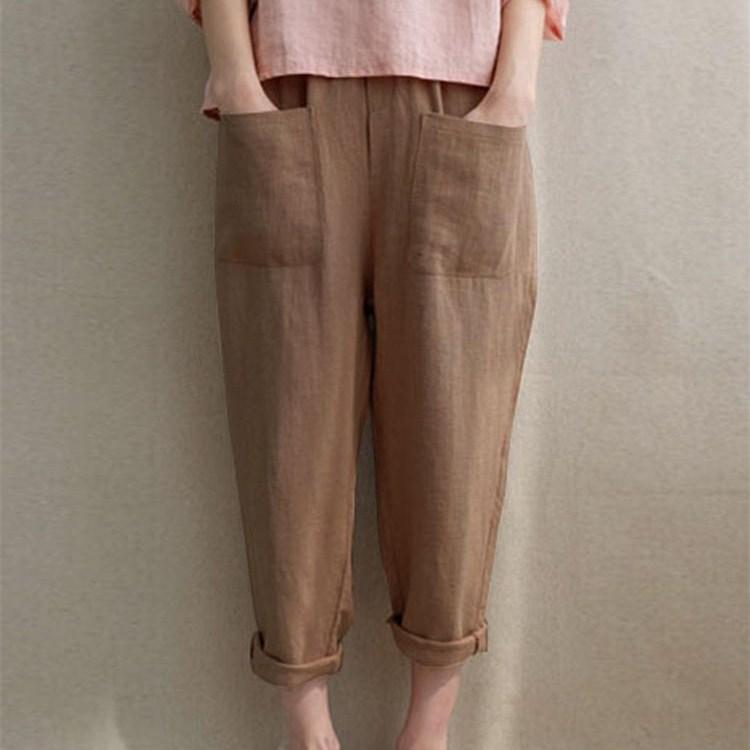 2019 Summer Woman Cotton Linen   Pants   5Xl Plus Size Loose Casual Trousers Female Elastic Waist Pockets Harem   Pants