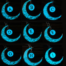 Glowing Letter A To M Moon Necklaces Pendant Silver Plated Chain Glow In The Dark Charm