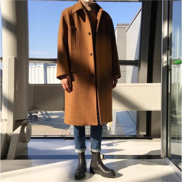 Мужской свободные длинные Шерстяное пальто мужские корейские модные Однобортный осень-зима толстые пальто с карманами манто Homme Ma5086