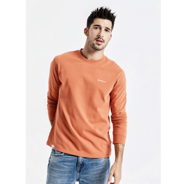 Men's Long Sleeve T-Shirts Letter Embroidered 100% Cotton Fashion Streetwear