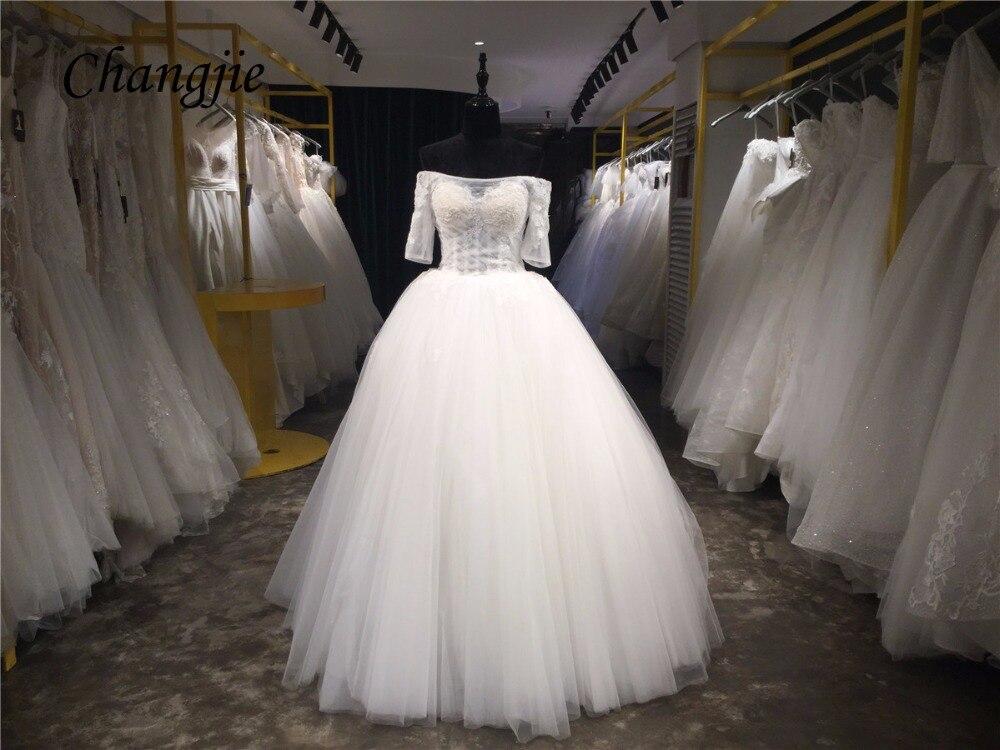 2018 Ball Gown Wedding Dresses Boat Neck Off Shoulder Half