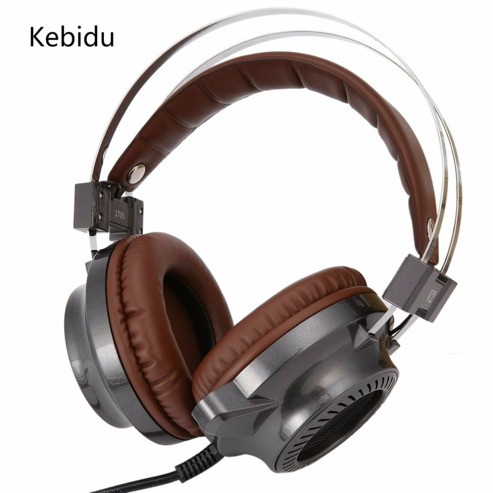 Kebidu Newest Stereo Earphone Gaming Headset gamer LED Light Hi-Fi Headphones MP3 with microphone for computer PC soyto stereo bass computer gaming headset headphone earphone with microphone for computer gamer with led light