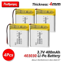 37V 400mAh 403030 Li-Po li ion Battery Rechargeable Battery Lithium Polymer Lipo cells For GPS MP3 MP4 Watch Wireless Telephone