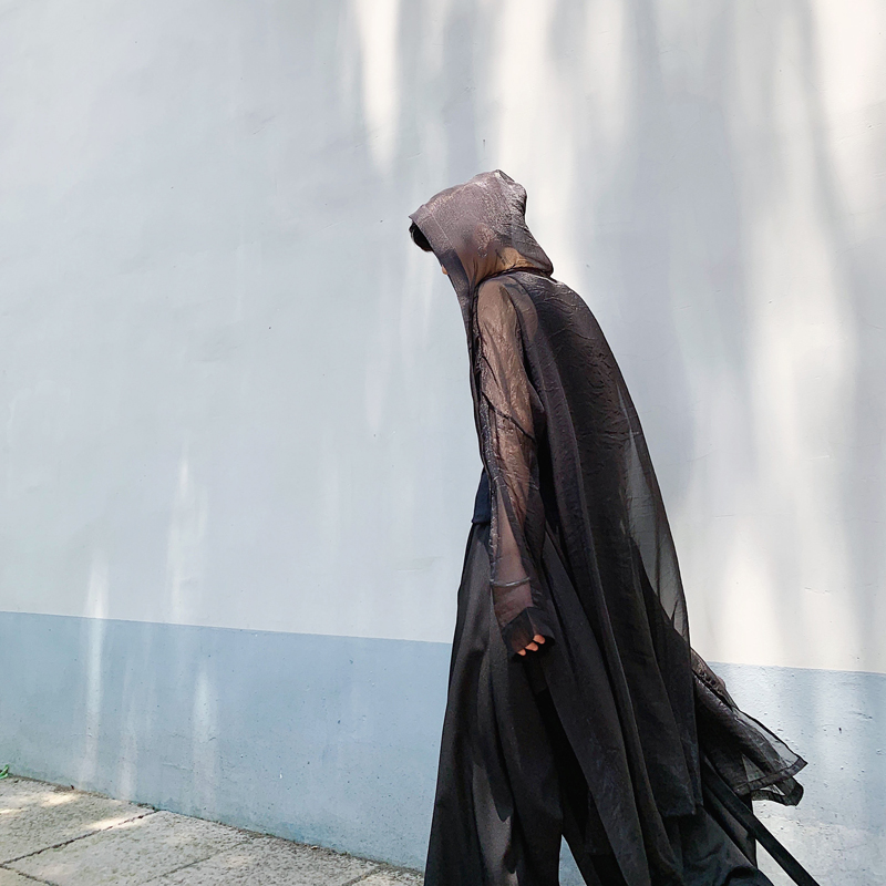 Men Streetwear Punk Gothic Cardigan Outerwear Summer Thin Mesh Sunscreen Shirt Jacket Male Women Long Style Hooded Trench Coat