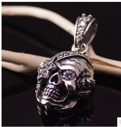925 Sterling Silver Justin Davis style pirate skull pendant davis acoustics 13 klv5r 1 шт