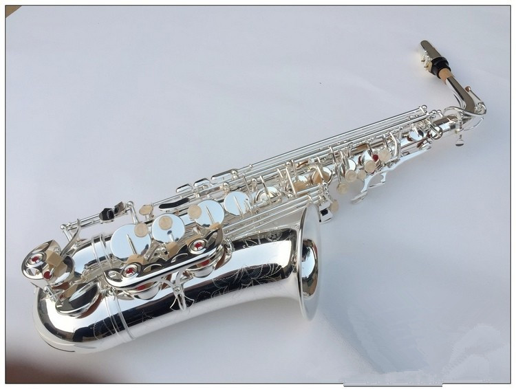 Alto Saxophone New Eb Silver Alto SAS-54 Sax plated Brass Musical Instruments Professional saxophone Alto Sax E Flat alto saxophone 54 eb flat alto sax top musical instrument sax wear resistant black nickel plated gold process sax