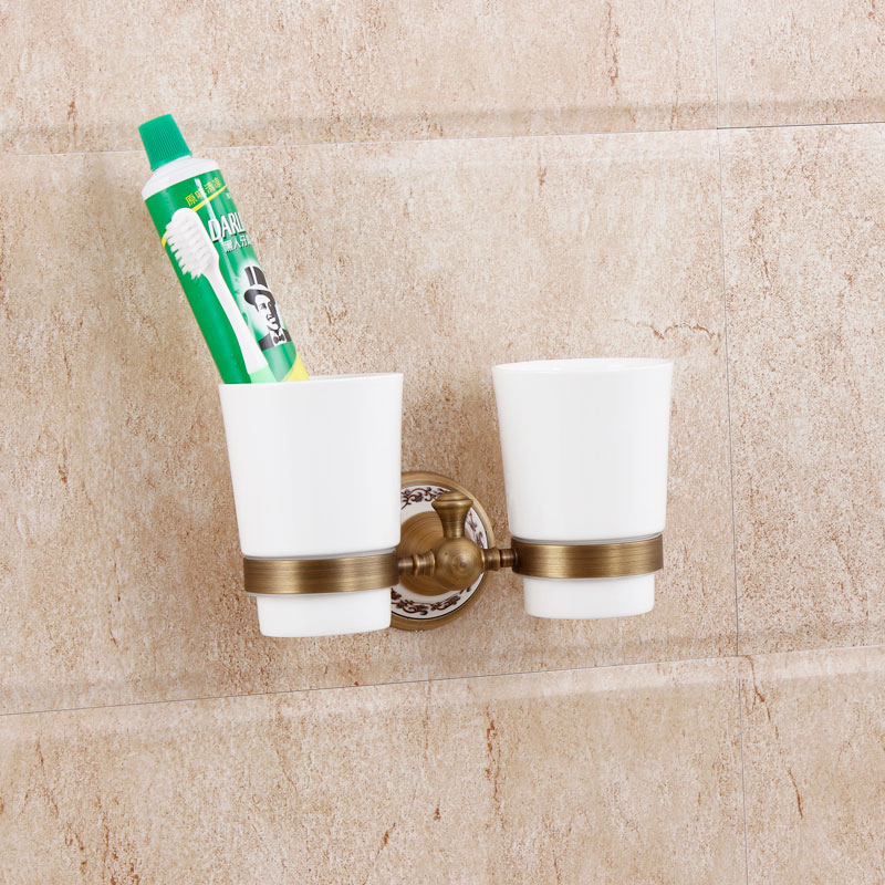 Antique Solid Brass Bathroom Ceramic Toothbrush Cup Holder Luxury Toothbrush Tumbler Double Cup Bathroom Accessories bathroom toothbrush cup holder double ceramic cup solid brass cup holder oil rubbed bronze