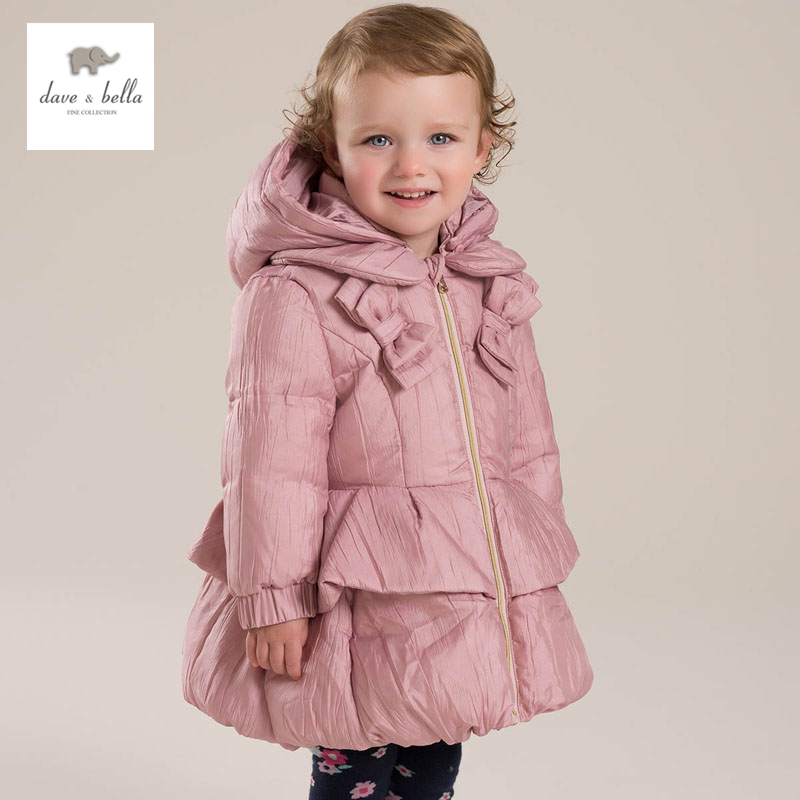 DB4086 dave bella winter baby girls white duck down coat hooded bow jacket bow back hooded jacket