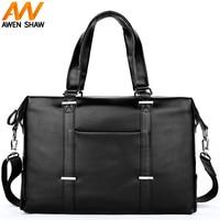AWEN SHAW Waterproof Leather Black Travel Handbags Large Capacity Weekend Bag Casual Travel Laptop Duffle Bags sac de voyage