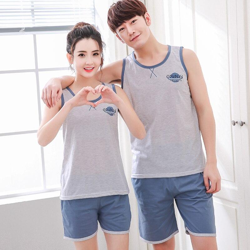 Summer Striped Pyjamas Cotton Couple   Pajamas     Set   Women Sleepwear   Pajama     Sets   Man Pijamas Mujer Lover Pyjamas Plus Size Clothing