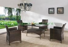 rattan dining room chair set with tempered galss