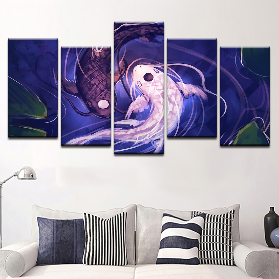 Modern Painting On Canvas Wall Art Pictures Fish Koi Yin Yang Home Decoration Posters Framework Living Room HD Printed 1