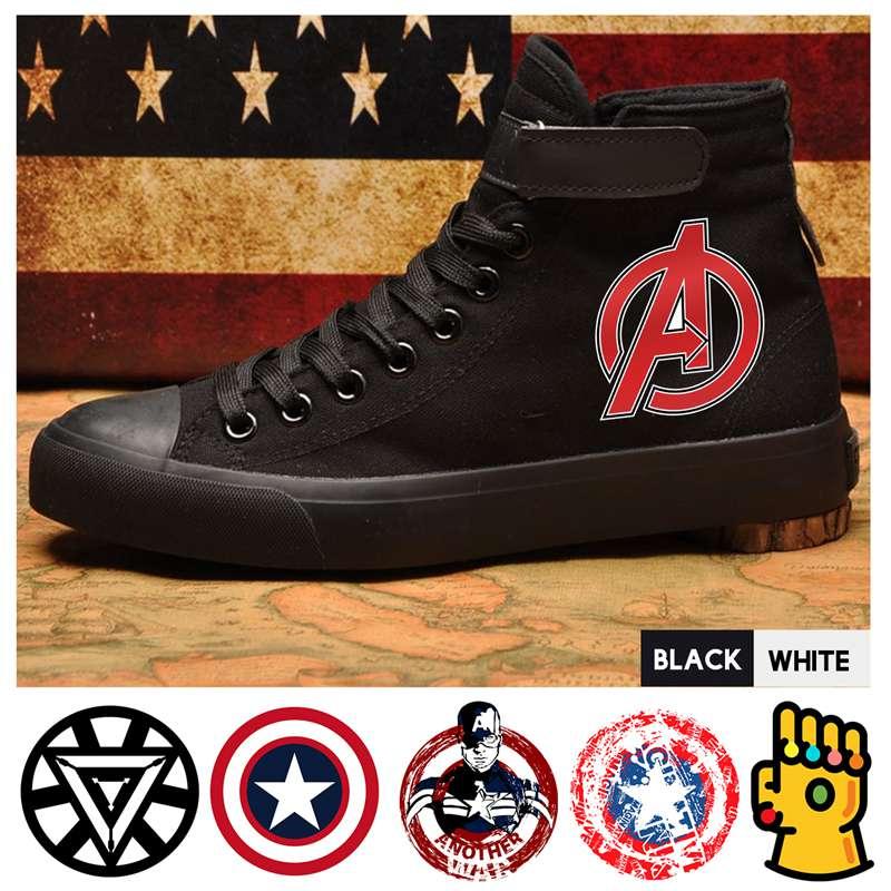 Humor Marvel Comic Superheld Captain America Thanos Eisen Mann High Top Canvas Obermaterial Männer Casual Schuhe Lace-up Individuelle A193291 Spezieller Kauf Herrenschuhe