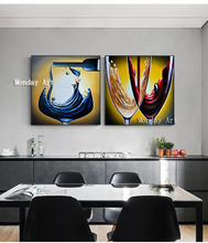 2 Pcs/Set canvas painting Hand painted Canvas abstract Oil Painting Wall for Living Room dining room home Decor Picture