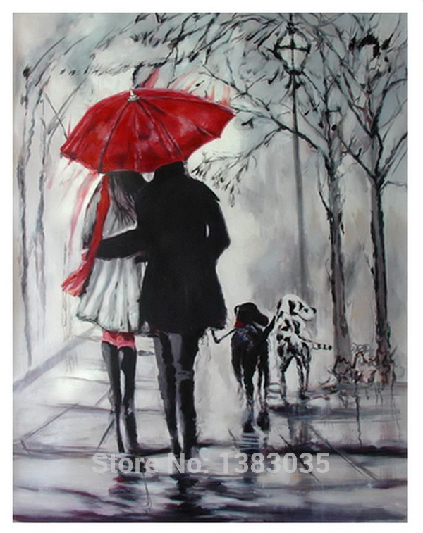 Hand Painted Rainy Street Landscape Lovers With Dogs Oil Painting Modern Abstract Black White Red Canvas Art Wall Picture Decor In Calligraphy