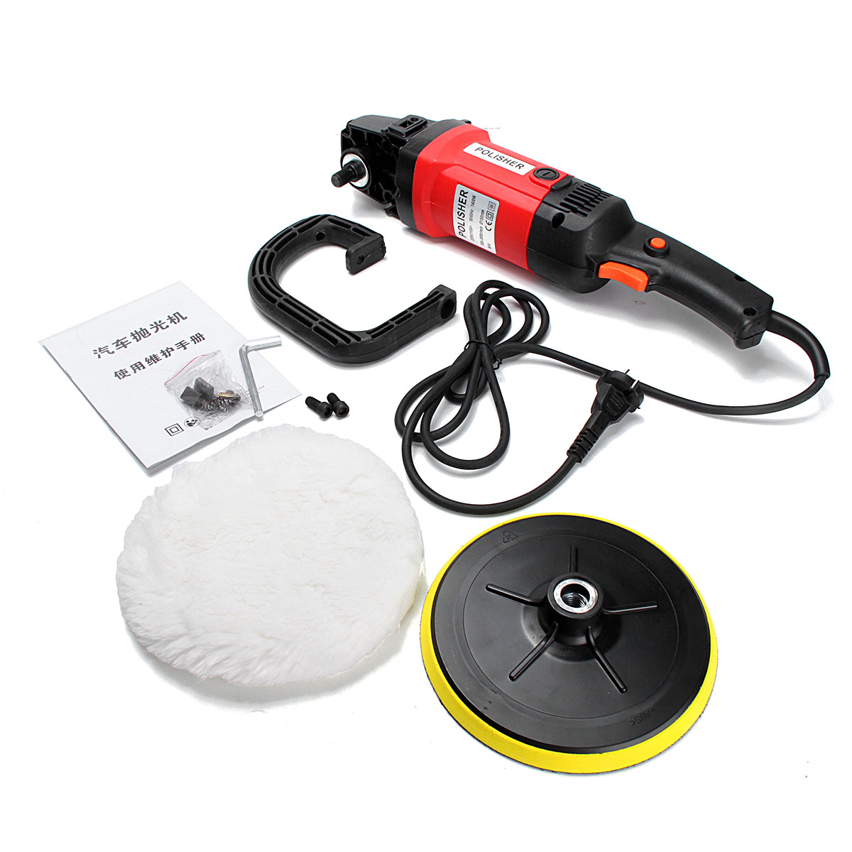 7'' Electric 6 Variable Speed Car Polisher Buffer Waxer Sander Boat with Sponge leaning Polishing Tool car wax wash cleaning polishing expanding sponge pad yellow