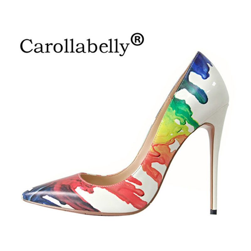 2018 Carollabelly Shoes Woman High Heels Wedding Shoes Flower Women Pumps Pointed Toe Sexy High Heel Shoes Stilettos Party Shoes sequined high heel stilettos wedding bridal pumps shoes womens pointed toe 12cm high heel slip on sequins wedding shoes pumps