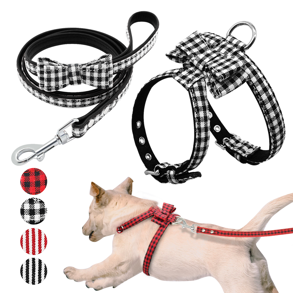 Bowknot Dog Harness And Leash Set Soft Leather Puppy Bowtie Harness Walking Leads Vest Plaid Striped Necklace Acessories