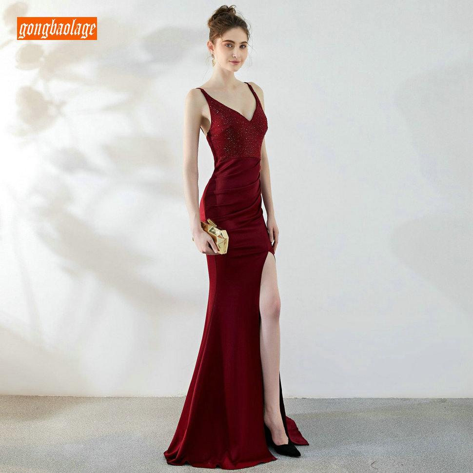 Fashion Burgundy Long   Evening     Dresses   2019 Mermaid Formal   Dress   Elegant   Evening   Gowns Stretch Size Fabric Side Slit Real Photos