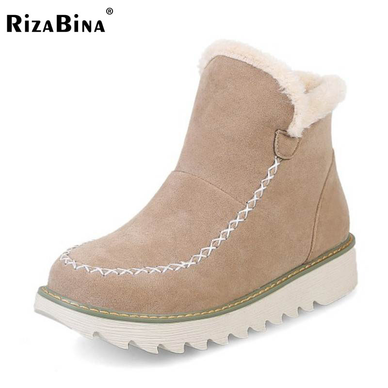 RizaBina Size 34-43 Winter Thick Fur Inside Ankle Snow Boots For Women Thick Platform Slip On Warm Plush Inside Warm Flat Botas kemekiss women warm plush warm snow boots for women thick platform ankle botas female thick fur winter footwear size 36 40