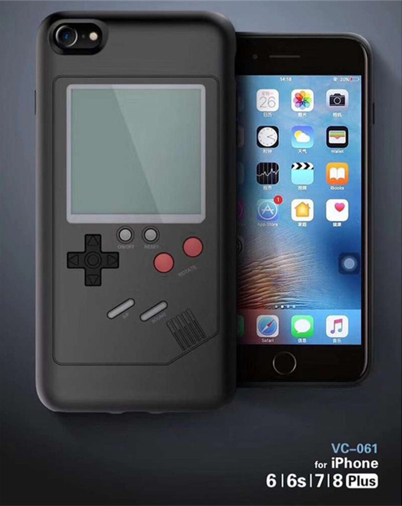Tetris Game Phone Case for iPhone X 8 7 Plus Handheld Play Back Cover Game Console Game Player Phone Case for iPhone 6 6SPlus