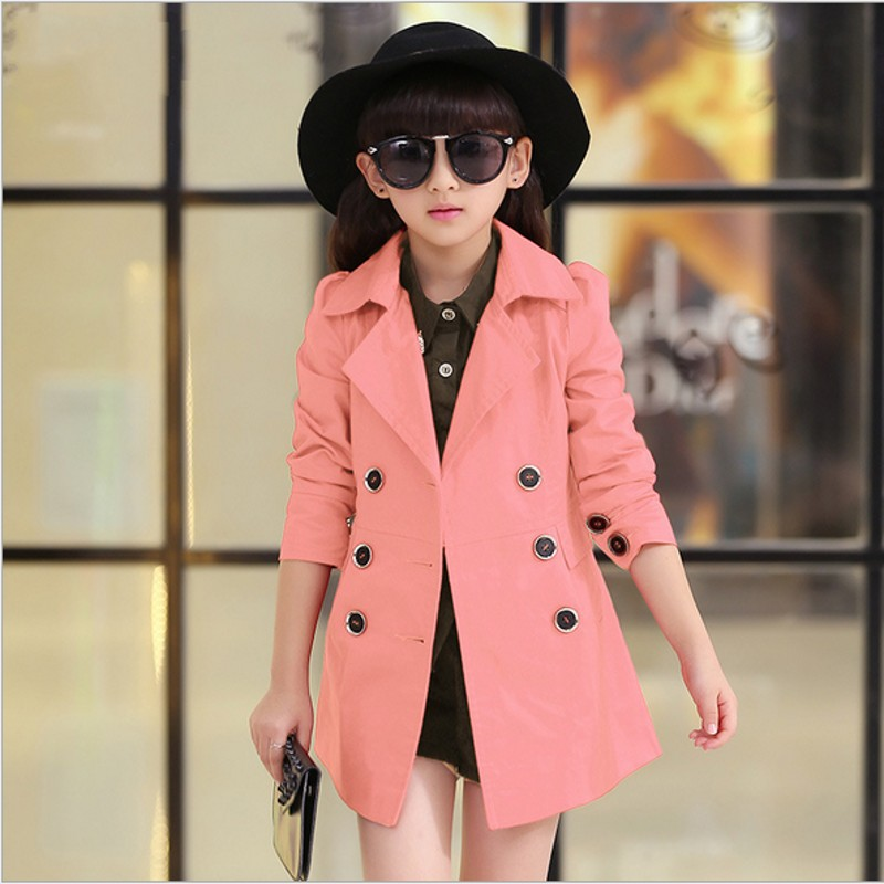 Girls Trench Coat High Quality Khaki Pink and Red Baby Jacket Kurtki Dla Dzieci Girls Jacket in Jackets Coats from Mother Kids