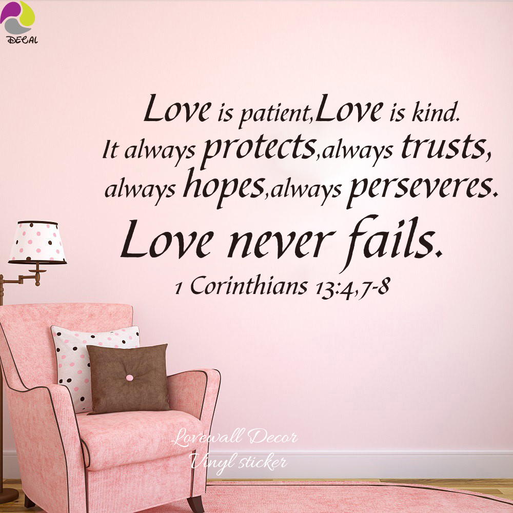 1 Cor 13 Song of Love Bible Verse vinyl wall Stickers decal Love God Love life quote Art Decor Living Room Bedroom Kids room image