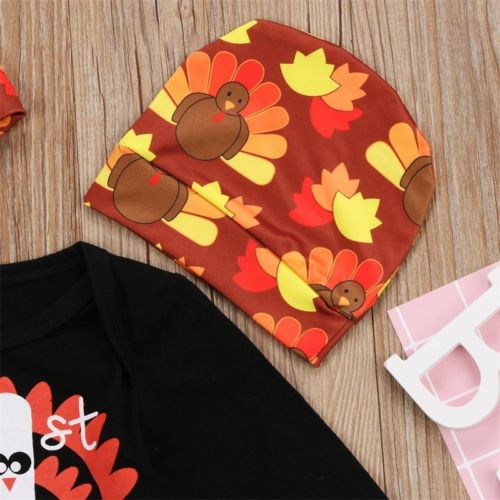 Newborn Kids Thanksgiving Baby Boy Girl Clothes Hat Romper Bodysuit Outfit Set