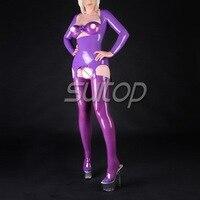 Резиновая Топ для леди латекс костюм платье сексуальный латекс фиолетовый linereg женский в том числе (Топ, бюстгальтер, краткие, чулок)