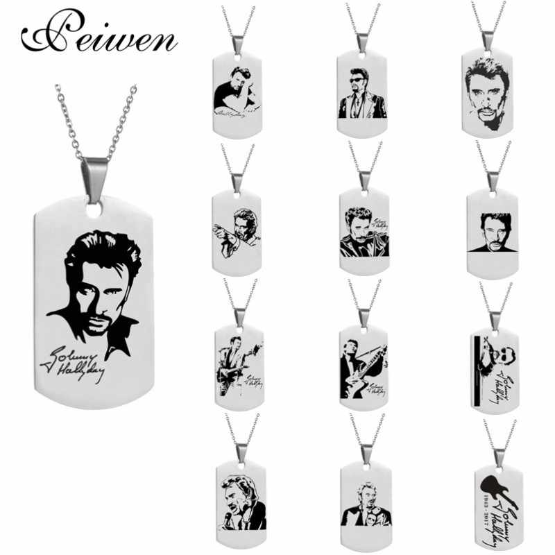 Personalized engrave punk rock Johnny Hallyday photo Necklace custom for women men stainless steel chain pendant charm choker