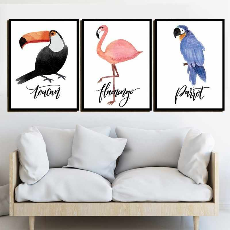 Color Cartoon Nursery Girl Wall Picture Poster & Print Bird Parrot Flamingo Toucan Baby Room Modern Canva Painting Kids Children