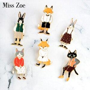 Mr Ms Gentleman Lady Cat rabbit брошь Лисичка pin Denim Animal куртка Pin рубашка с пряжкой значок ювелирный подарок для возлюбленных для пар
