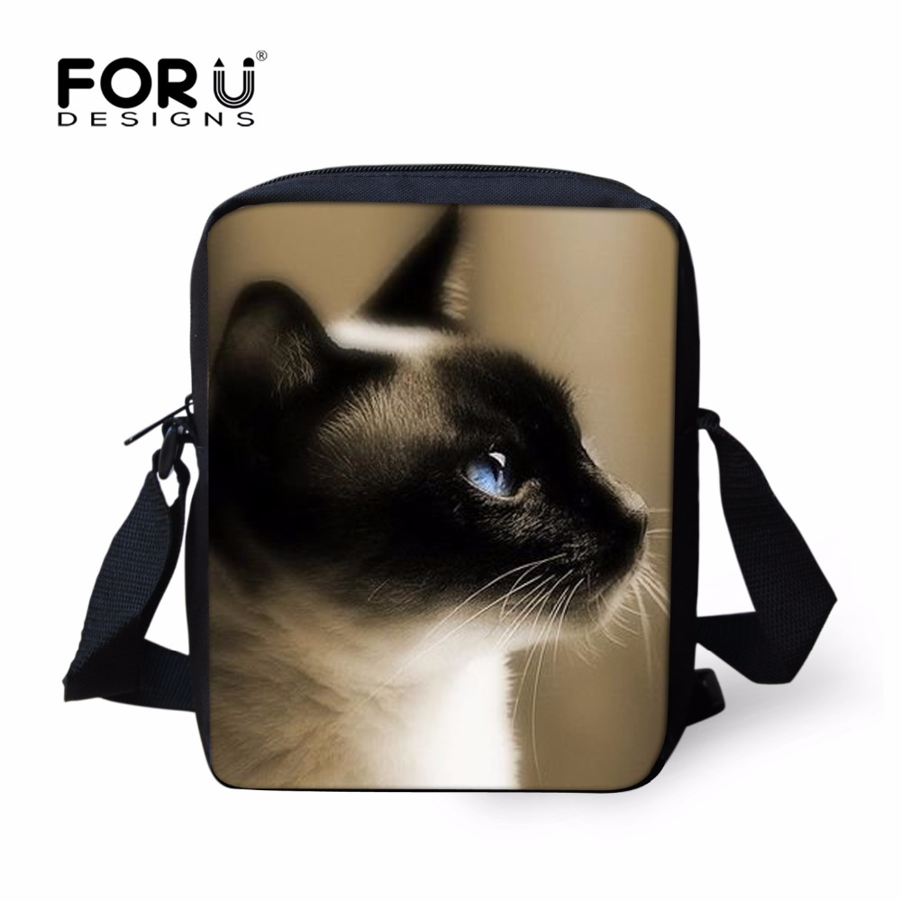FORUDESIGNS Casual Women Handbag 3D Cat Cross-body Bags For Girls Child Small Shoulder Bag Kids Messenger Bag Mochilas Infantil forudesigns black cat bags for women messenger bag 2018 girls handbag cheap canvas shoulder bags summer beach casual tote bags