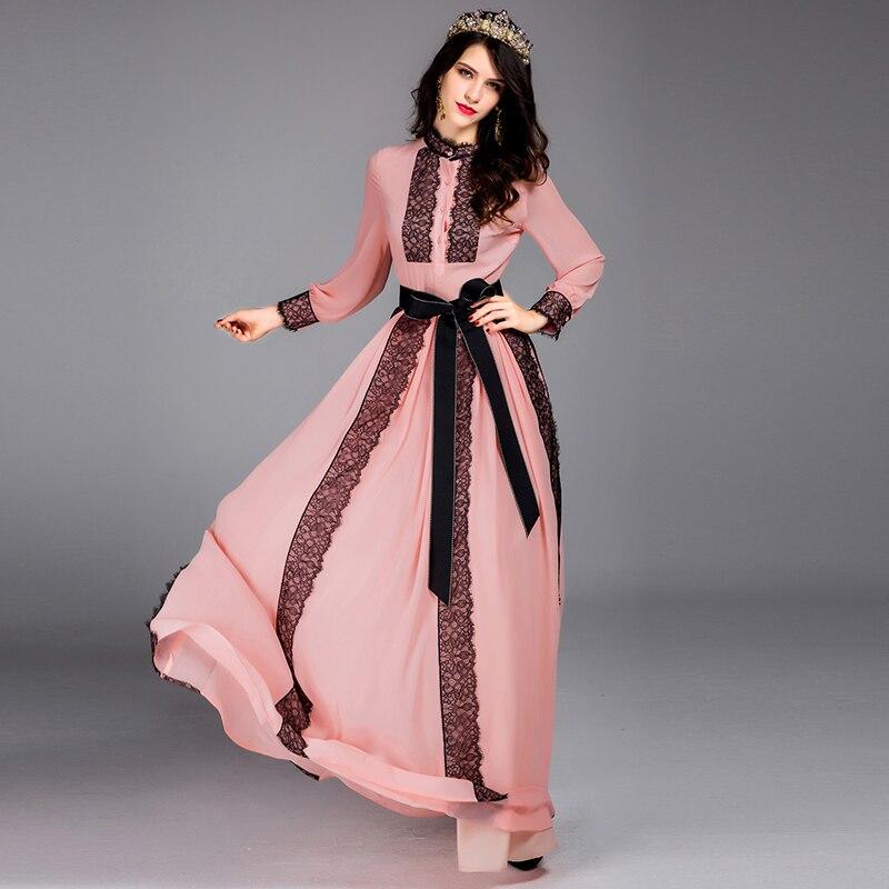Elegant Charmant Jurken 2017 Lente Vrouwen Volledige Mouw Roze/wit Hot Koop Fashion Kant Patchwork Riem Floor Lengte Maxi jurk