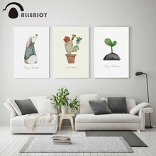 Allenjoy Nursery Posters Rabbit Cactus Sprout Butterflies Watercolor Quotes Canvas Painting Baby Nordic Kid Room Artwork