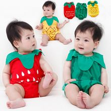 Baby Siamese clothes newborn cotton bag fart baby triangle summer fruit shape out romper