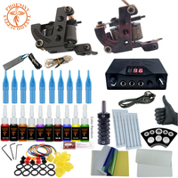Complete Tattoo Kit Tattoo Machine Gun Set 10 Color Ink LCD Power Supply Tattoo Professional Tattoo Permanent Body Art Tool Set