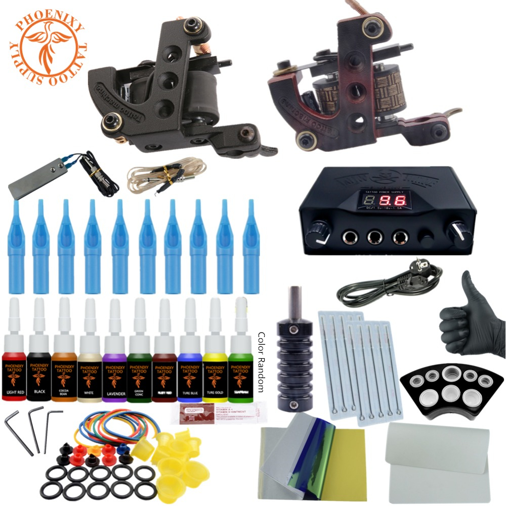 Completed Tattoo Kit Equipment Tattoo Machine Gun 10 Colors Ink LCD Power Supply Gun Set Tattoo Beginners Body Art Tools wholesale professinal tattoo kit 2 gun complete machine equipment teaching cd ink sets needles for beginners beauty tools
