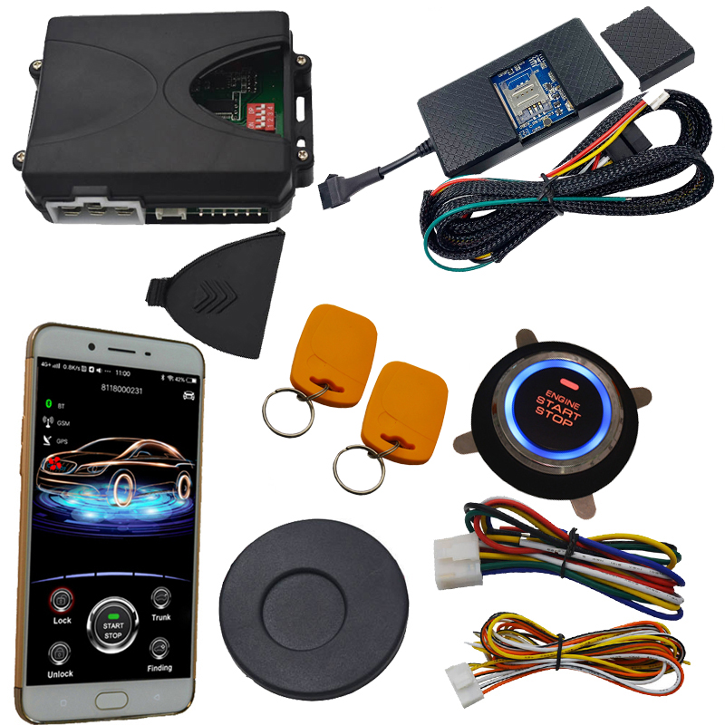 RFID invisible car alarm with engine start stop button bypass chip key remote immobilizer signal working
