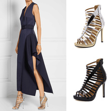 Gladiators Sandals Women 2017 Summer Style European High Heels Peep Toe Hollow Out Ladies Sandals Boots Black /Gold Big Size