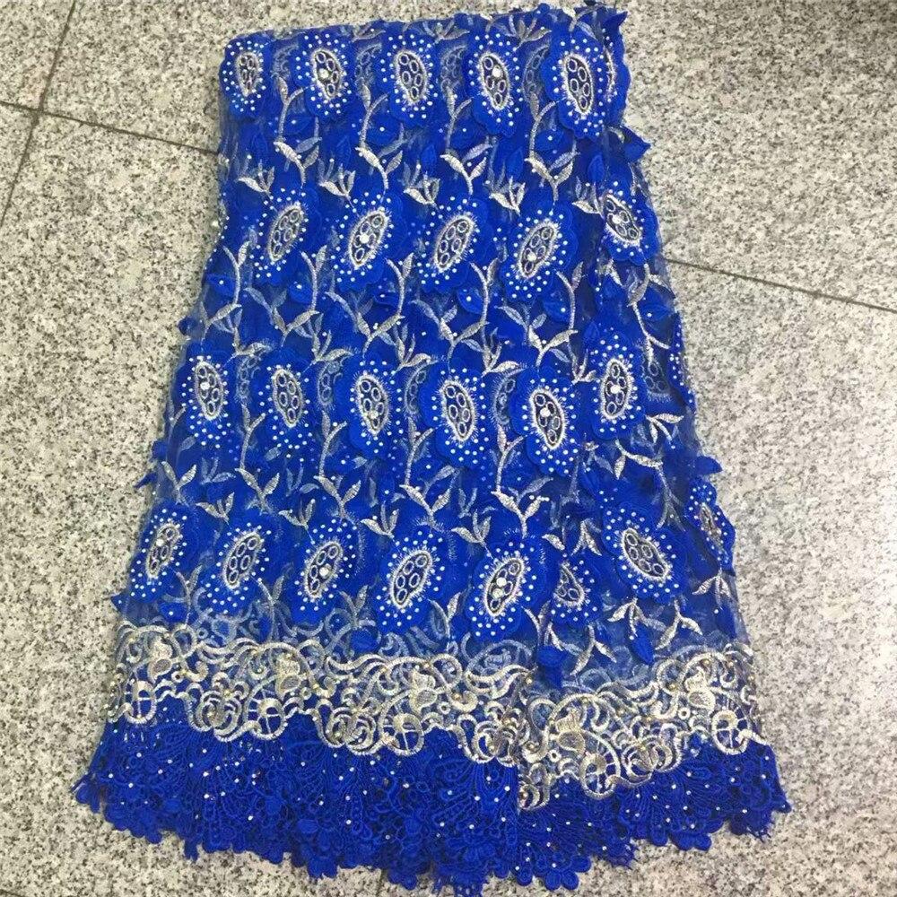 HFX bleu 5 yards. Guipure dentelle de haute qualité africaine cordon dentelle tissu avec des pierres perles offre spéciale X210-2