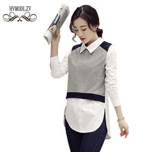 2017 Spring New Women Shirt Long-sleeved POLO collar Splicing Fake Two Pieces Blouse Casual Fashion Large Size Clothing LJ062