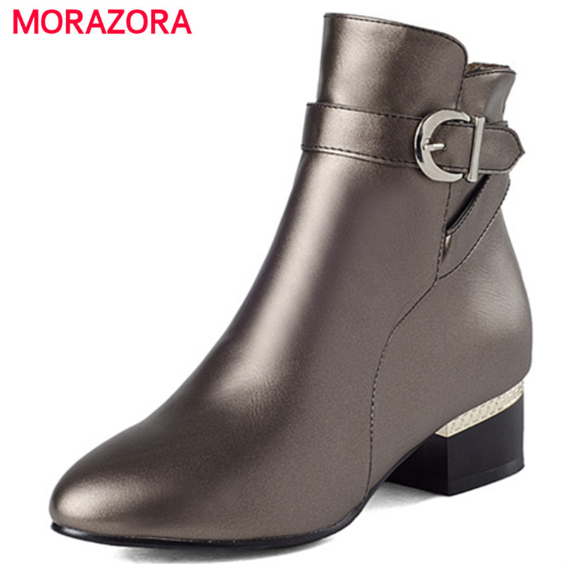 MORAZORA Ankle boots zipper PU solid med heels shoes spring autumn boots for women fashion punk large size 34-43 morazora new china s style knee high boots flowers embroidery spring autumn boots for women zipper cow suede med heels boots