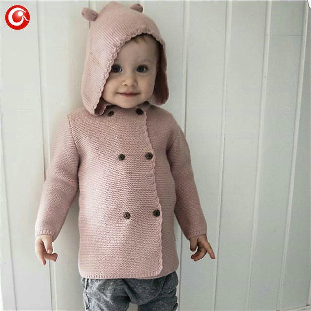 2016 Otoño/Invierno Niños Niñas chaqueta de Punto Con Capucha Doble Botonadura Suéter de Algodón Para Niños Boy Baby Girl Soft Knit Jumper ropa