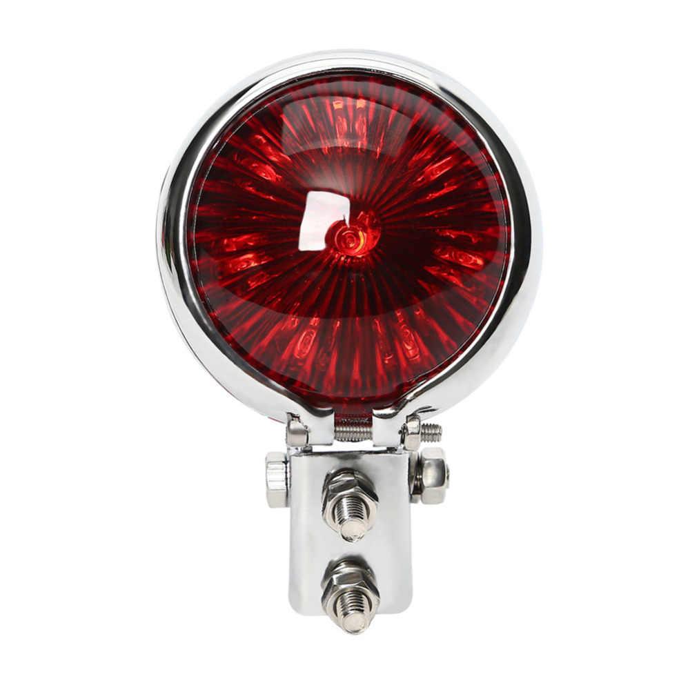 Carcasa cromada, luz trasera LED Retro personalizada, luz de freno trasero Bates, luz de freno para Harley codificador Café Racer, lámpara de guardabarros