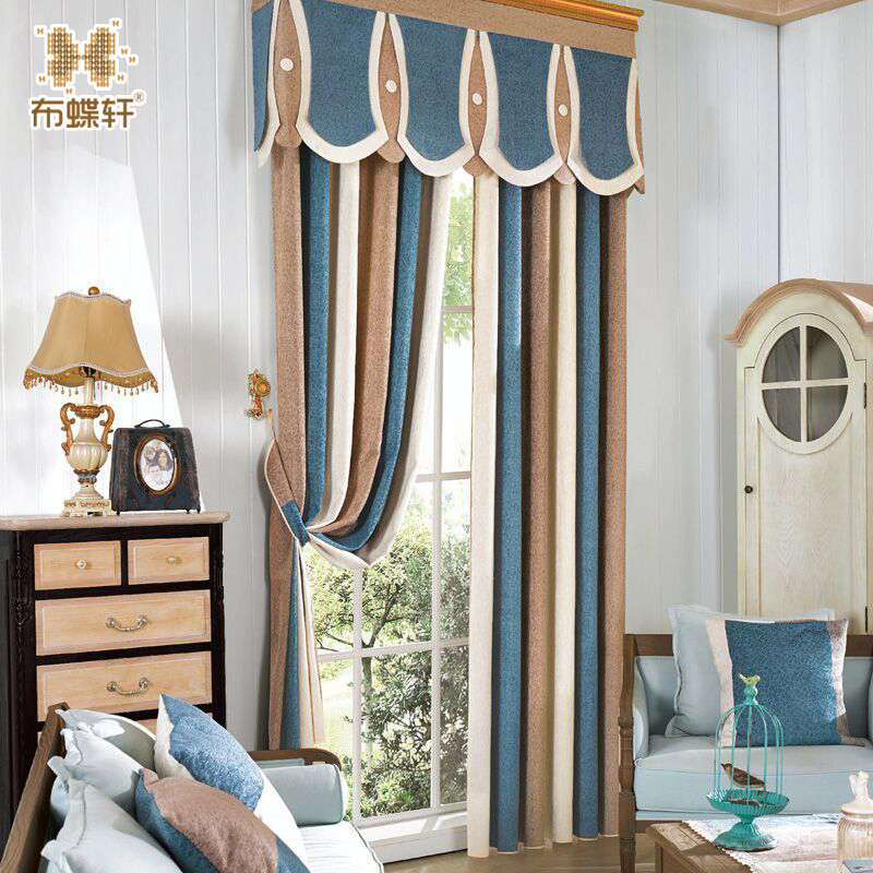 US $14.25 40% OFF|High Grade Chenille Stripe Multicolor Blackout Blinds for  Bedroom Study Room Valance Curtains for Living Room European Style-in ...